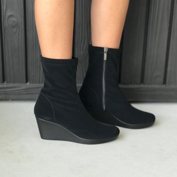 black wedge sock boots